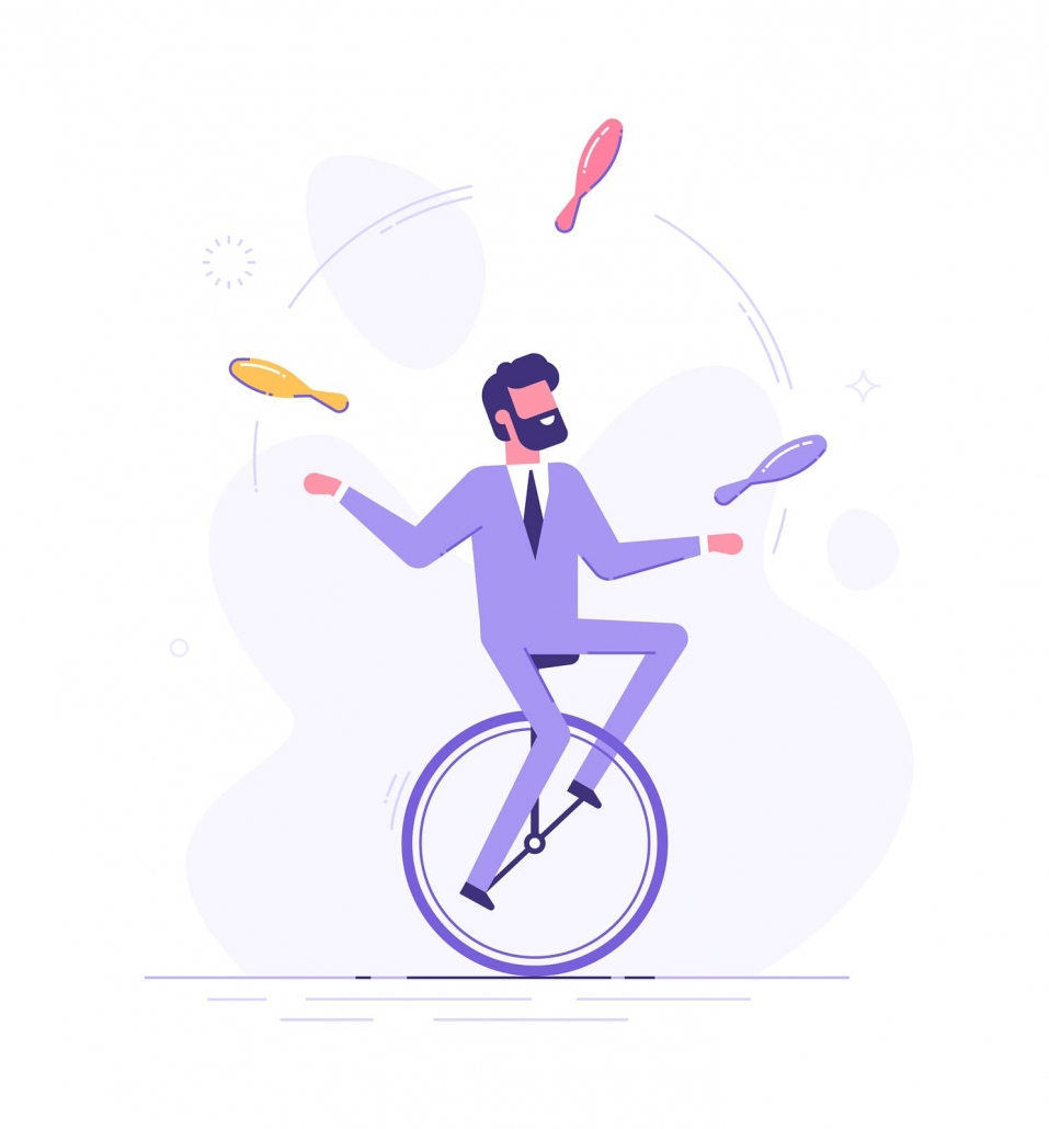 Multi-tasking man illustration