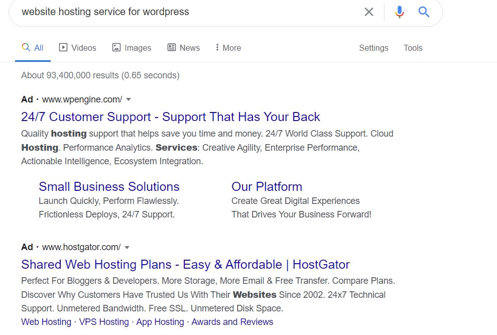 website hosting service wordpress