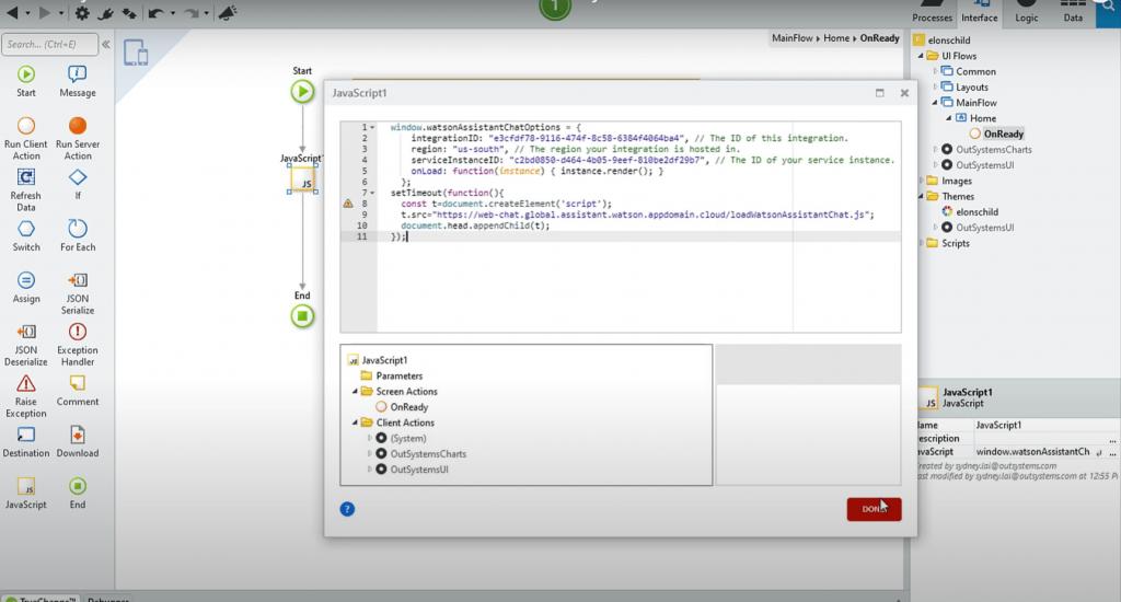 IBM Chatbot Development Interface Screenshot