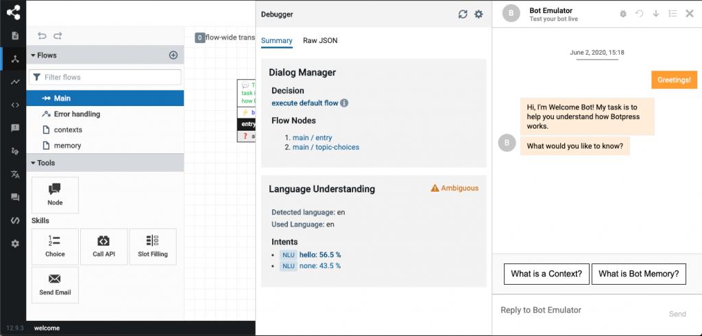 Botpress chatbot development framework dashboard screenshot